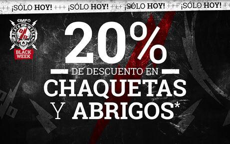 20% DE DESCUENTO EN CHAQUETAS Y ABRIGOS