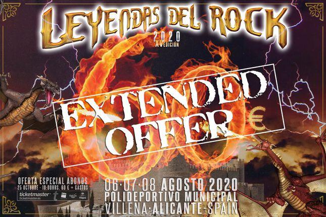 Leyendas del Rock amplía su oferta de abonos hasta el lunes 4 de noviembre.
