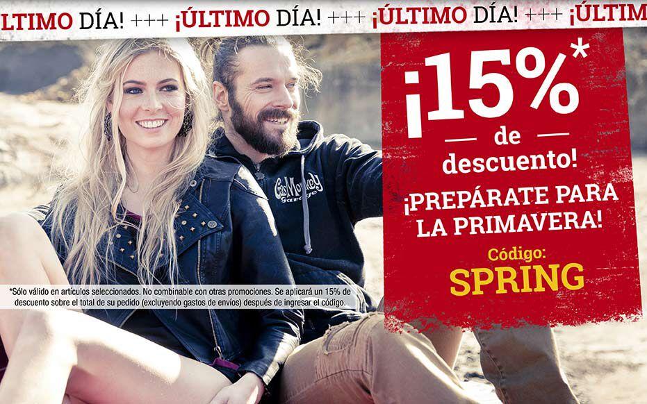 ¡Sólo hoy: 15% de descuento! ¡Prepárate para la primavera! Código: SPRING