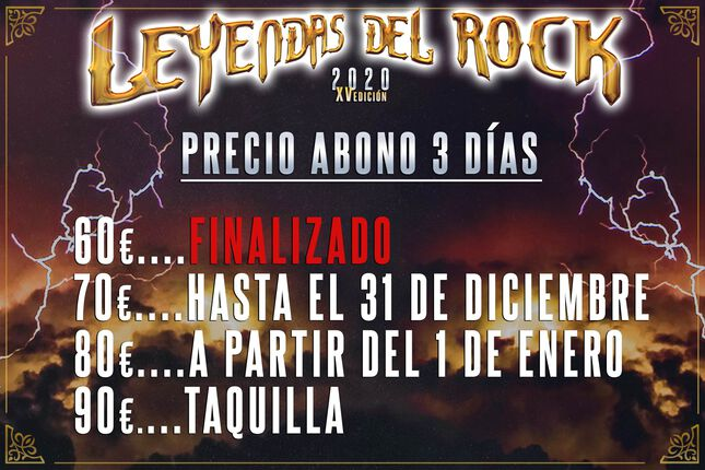 LEYENDAS DEL ROCK. PRECIOS DEFINITIVOS.