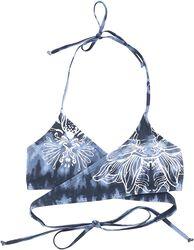Top bikini batik azul/blanco con estampado