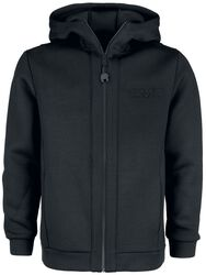 Black Softshell-Touch Hooded Jacket with Embossed Print