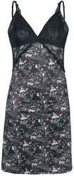 Camisón negro con encaje y estampado de calaveras