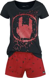 Black/Red Pyjamas with Rockhand