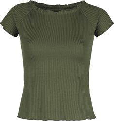 Green Ribbed T-shirt with Wide Neckline