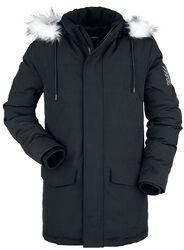 Chaqueta negra de invierno con cuello de piel artificial