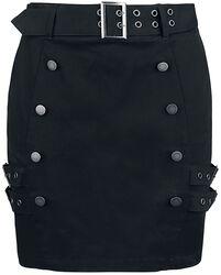 Mini falda negra con doble fila de botones y correas