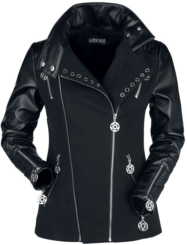 Chaqueta negra gótica biker con remaches decorativos