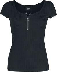 Black T-shirt with Zip at Neckline