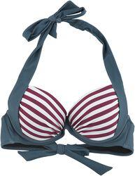 Top bikini tri color con rayas