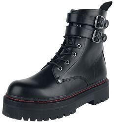 Botas negras con hebillas y costuras