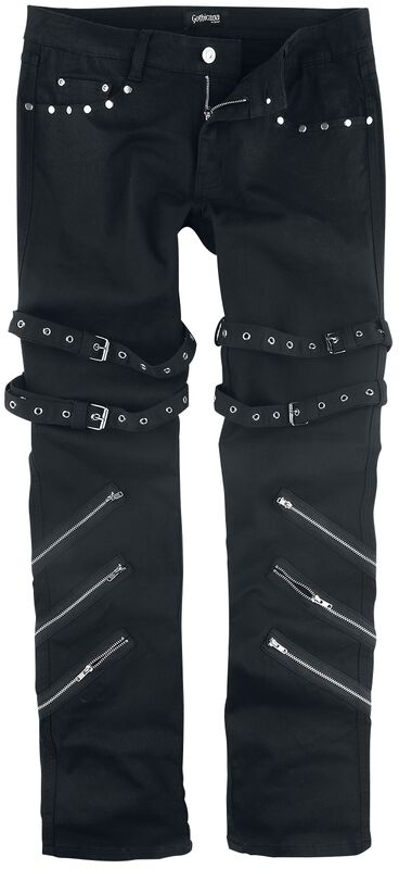 Jared - Black Jeans with Buckles, Zips and Studs