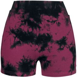 Schwarz/Rote Batik Shorts mit seitlichem Häkeleinsatz