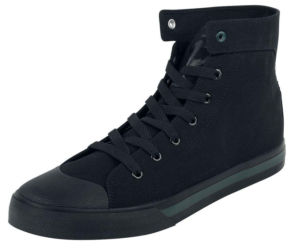 Zapatillas negras con ancla bordada y detalles a color