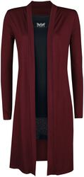 Cardigan largo rojo y top negro de Black Premium