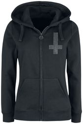 Hooded Jacket with Print and Rhinestone
