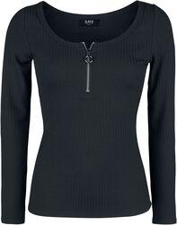 schwarzes Langarmshirt mit Reißverschluss im Rundhalsausschnitt
