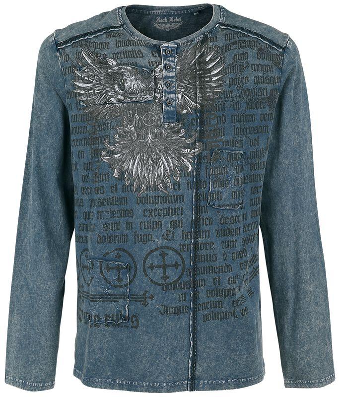 Camisa azul de manga larga con lavado y estampado
