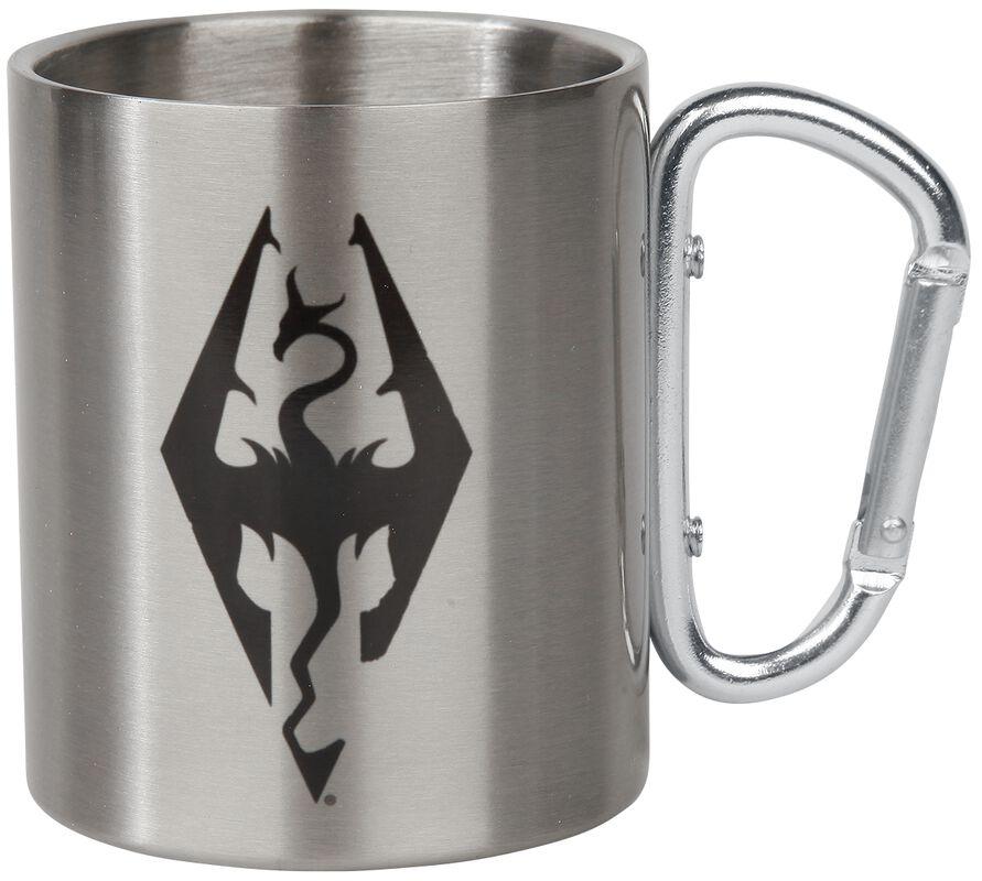 V - Skyrim - Dragon Symbol - Taza con mosquetón