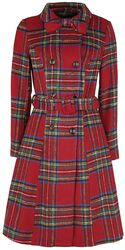 Margaret Red Plaid Coat with Removable Bow