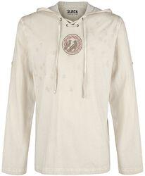 Camiseta beige manga larga con capucha