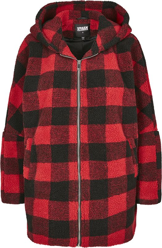 Ladies Hooded Oversized Check Sherpa