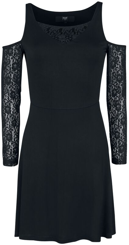 Black Cold-Shoulder with Lace Sleeves
