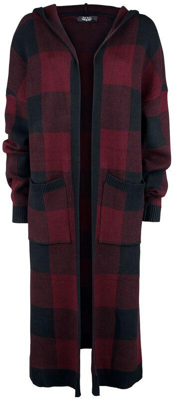 Cardigan a cuadros negro y rojo con capucha