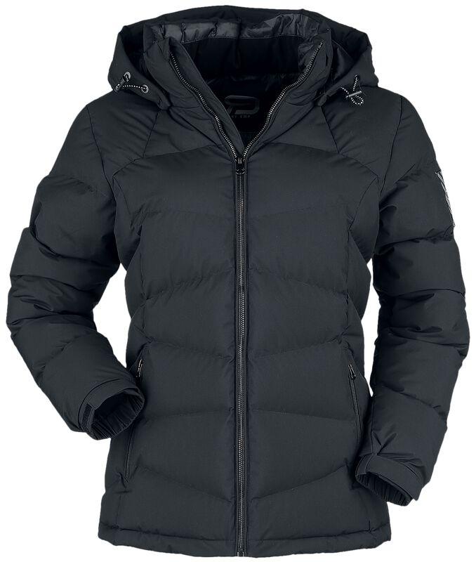 Chaqueta negra de invierno con acolchado