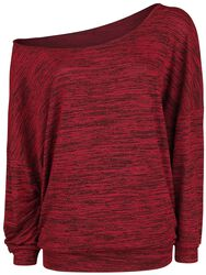 Jersey jaspeado de cuello amplio Oversize