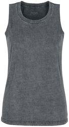 Top gris con lavado especial y cuello redondo