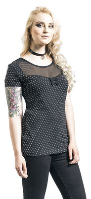 Camiseta negra con escote transparente y lunares blancos