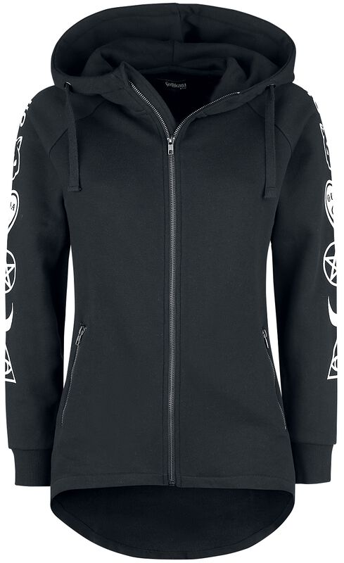 Black Hooded Jacket with Arm Print