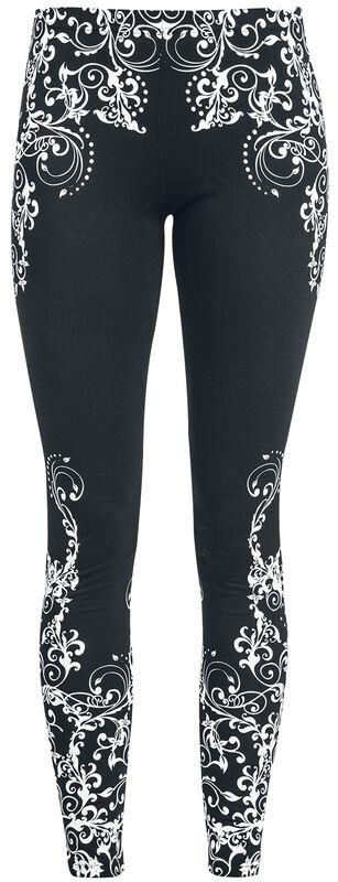 Leggings negros con detallado estampado