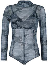Body negro semi transparente de estilo camuflaje