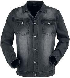 Chaqueta gris oscuro con bolsillos al pecho y fila de botones