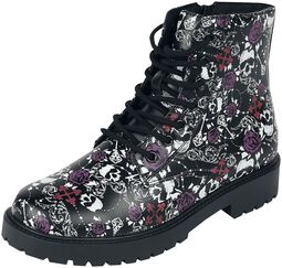 Black Lace-Up Boots with Skull and Roses