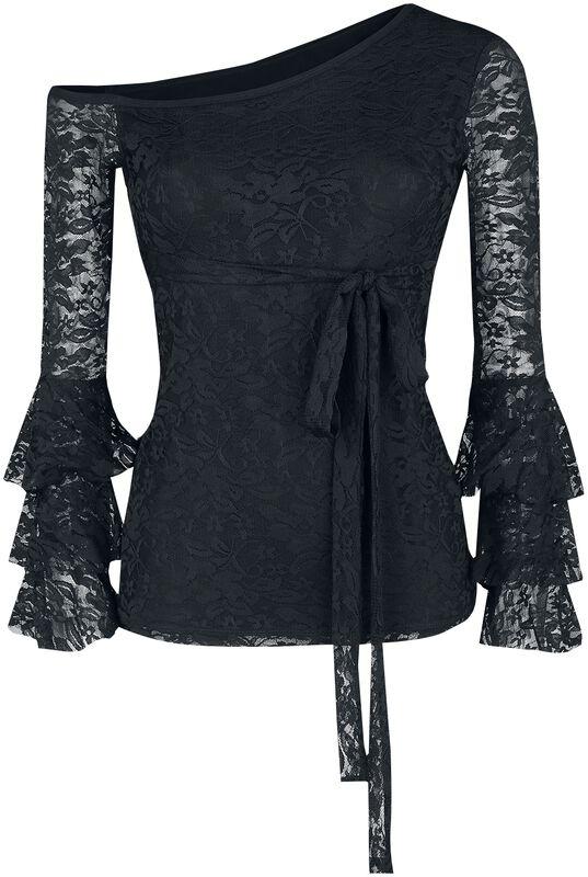 Top negro manga larga con mangas amplias de encaje