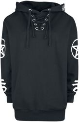 Black Hooded Shirt with Symbol Print