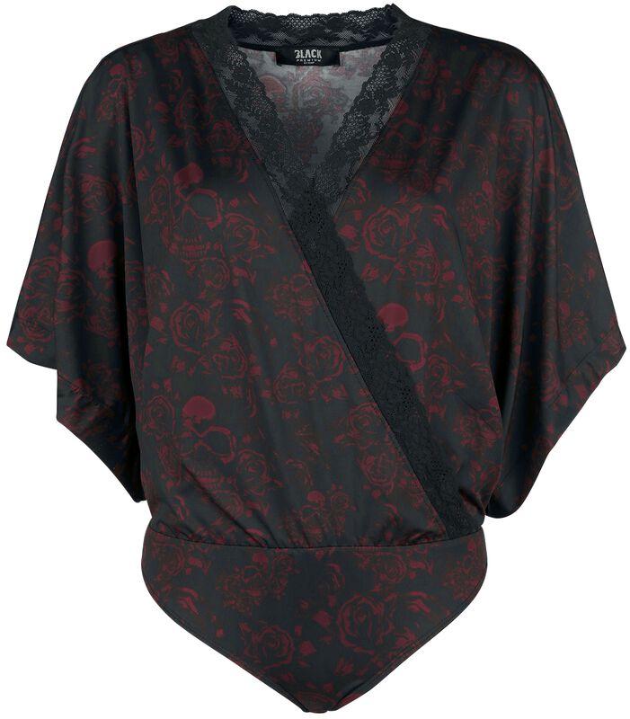 Body negro look envolvente con manga kimono y completo estampado
