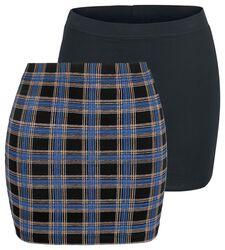 Faldas negra y a cuadros cortas con cintura elástica