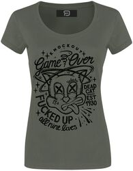 Khaki T-shirt with Crew Neck and Print