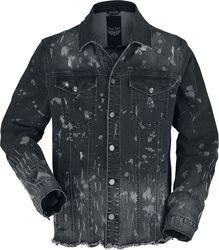 Chaqueta negra denim con lavado y costuras abiertas