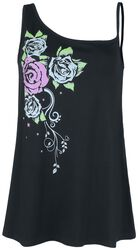 Black Top with Different Straps and Print