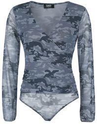 Schwarzer semitransparenter Body mit Camouflage-Muster und V-Ausschnitt