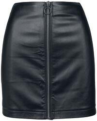 Falda de cuero con cremallera #A1
