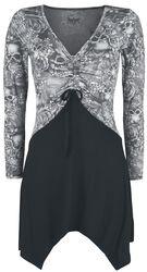 Black/grey long-sleeved shirt with lacing and print