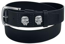 Cinturón negro con tachuelas de calavera