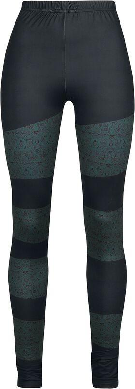 Leggings negros con colorido diseño y calaveras