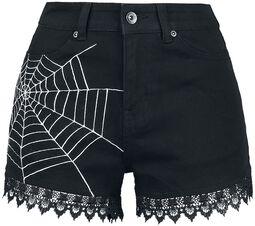 Pantalón corto negro con estampado y reborde de encaje
